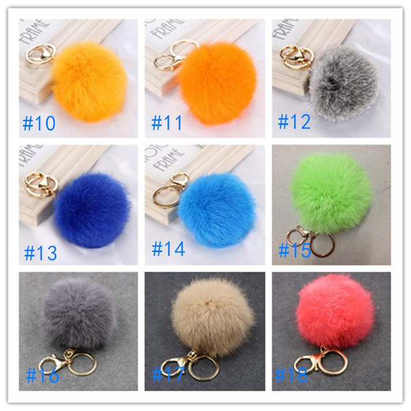 best selling Christmas Gift Real Rabbit Fur Ball Plush Fuzzy Fur Key Chain POM POM Keychain Car Bag Keychain Key Ring Pendant Jewelry Wholesale EWD1282