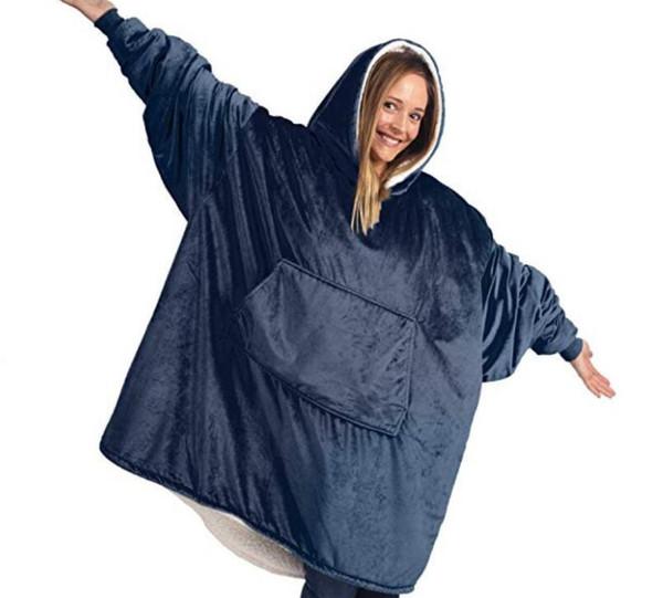 top popular Winter Outdoor Hooded Pocket Blankets Warm Soft Hoodie Slant Robe Bathrobe Sweatshirt Pullover Fleece Blanket With Sleeves 2021