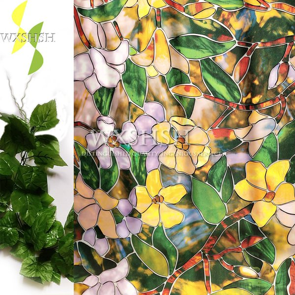 top popular 90*200cm color magnolia pattern window decorative film ,self-adhesive electrostatic privacy protection glass stickers,stained Y200421 2021
