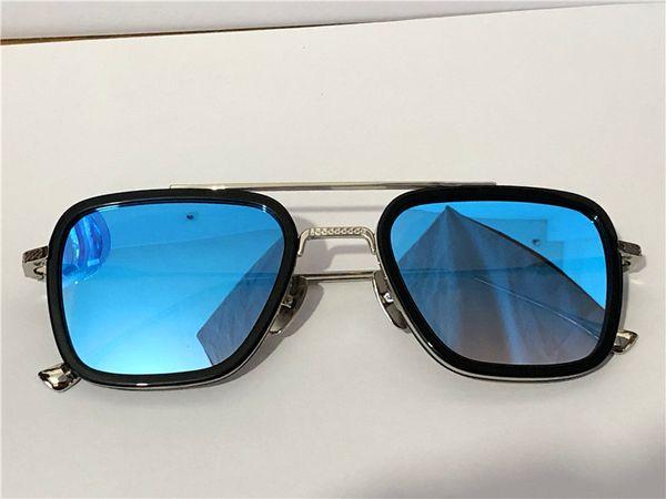 Siyah gümüş mavi lens
