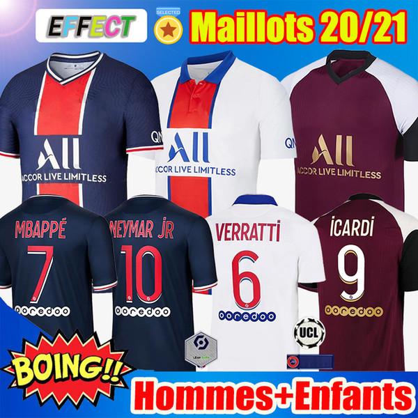 best selling Maillots de Football 20 21 MBAPPE Soccer Jerseys ICARDI NEYMAR VERRATTI Football Shirt JR 2020 2021 Men Kids maillot de foot hommes enfants