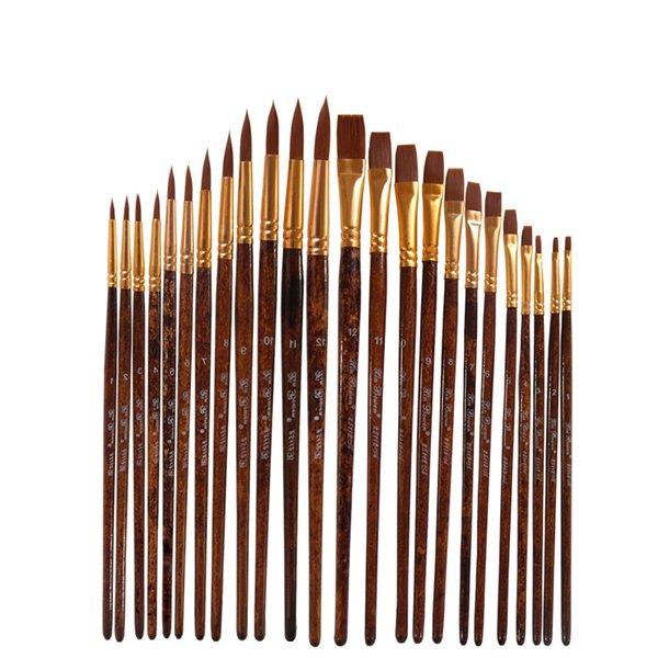 best selling nylon hair gouache pen flat head round head 12 pcs wooden Grain rod grain poles high-quality watercolor brush Suite painting