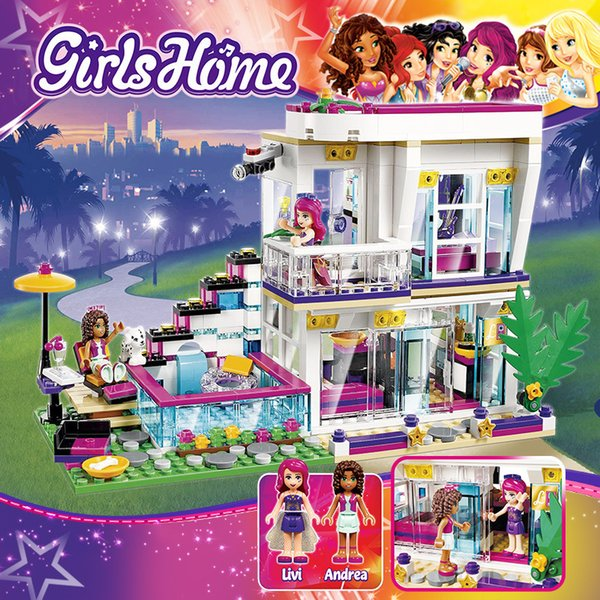 best selling legoed Hot selling Girls building blocks big singer Liweis house assembled toys ed compatible Childrens birthday present