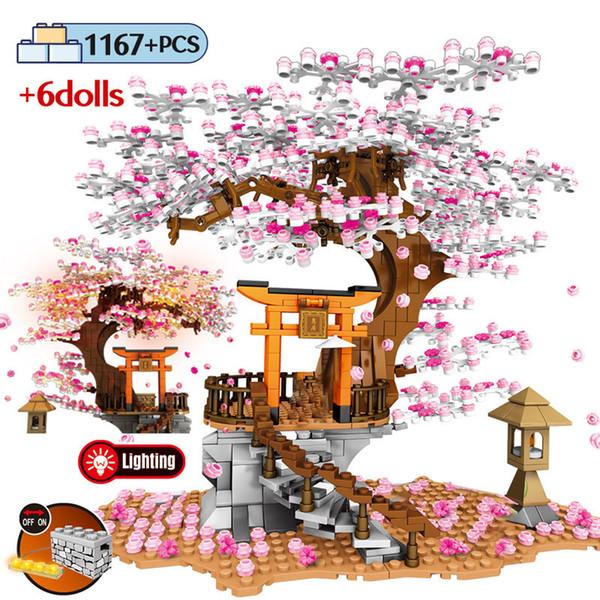 top popular SEMBO Street View Idea Shrine Bricks Sakura Stall Bricks City Friends Cherry Blossom Landscape House Tree Building Block Toys 1008 2021