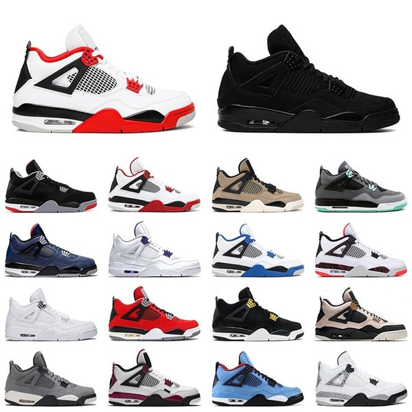 top popular 4 mens basketball shoes satinjordan 4s 2020 fire red black cat white cement cool grey men trainer sports sneakers 2021