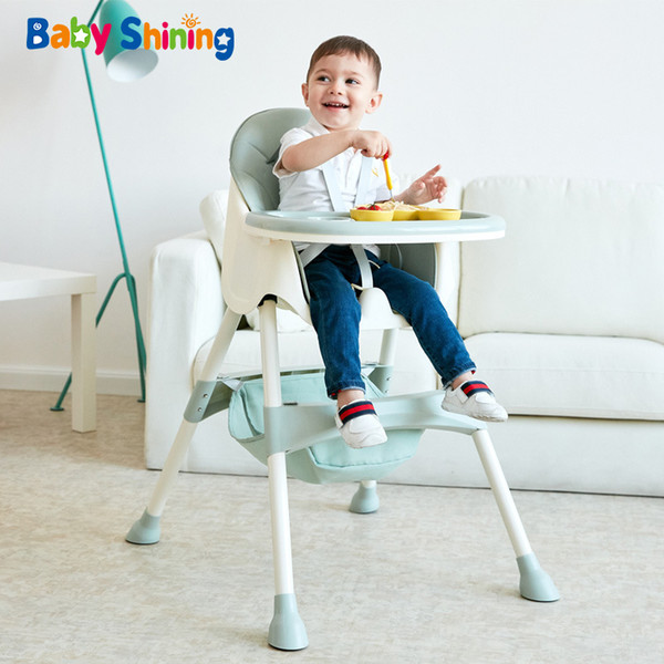 best selling Baby Shining Kids Highchair Feeding Dining Chair Double Tables Macaron Multi-function Height-adjust Portable with Storage Bag LJ201110