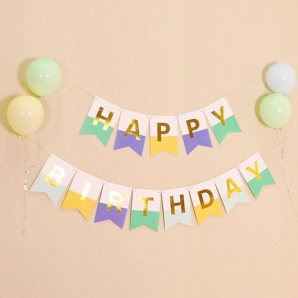 Bandera de cola de pescado de cumpleaños azul de caramelo