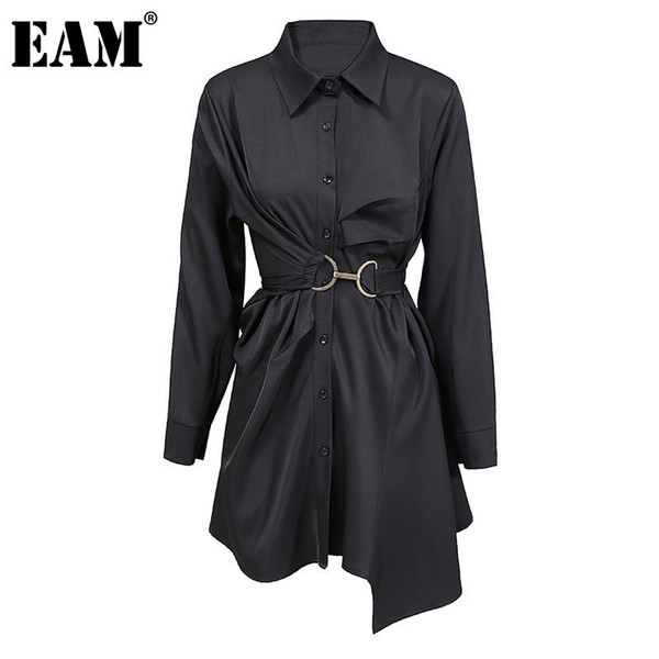 eam] women big size pleated metal circle blouse new lapel long sleeve loose fit shirt fashion tide spring autumn 2020 1dd0718, White