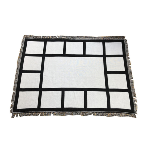 best selling 9 Penels Blankets Sublimation Blank Blanket with Tassels Heat Transfer Printing Shawl Wrap Sofa Sleeping Throw 125*150cm