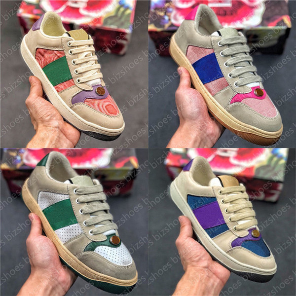 top popular Italy Dirty Leather Shoe Green Red Stripe Luxurys Designers Canvas Ace Casual Shoes Classic Butter Distressed Screener Sneakers 2021