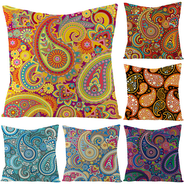 best selling Linen Case Ethnic Pillow Style Combination Bohemian Cashew Flower Cushion Waist Pillow Cover