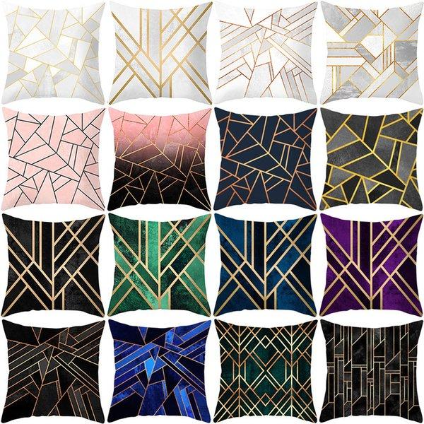 best selling Geometry Skin Sofa Peach Pillow Cover Creative Home Office Pillow Case Car Waist Pillow