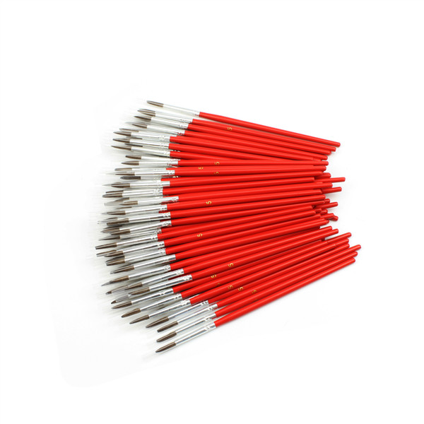 best selling 6pcs set red birch Short rod horse hair small gouache water color painting pen children suit art Painting supplies stationery