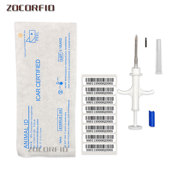 best selling ISO11784 FDX-B 2.12x12mm cat dog microchip animal syringe ID implant pet chip needle vet RFID injector PIT tag for dog cat fish