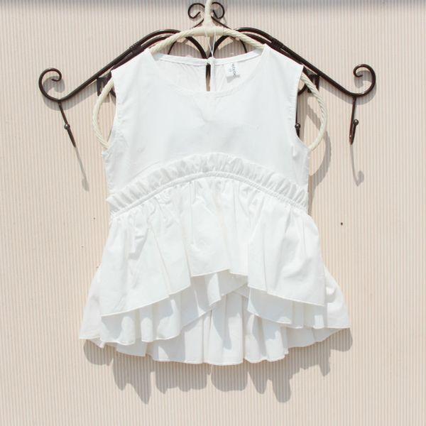 top popular Baby Girl White Shirt Cotton Solid Sleeveless Blouses for Teenage School Girl Rufflle Summer White Blouse Girl Children Clothing Y200704 2021