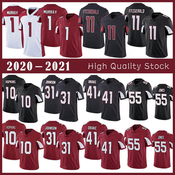 top popular 1 Kyler Murray Football jersey 10 DeAndre Hopkins 11 Larry Fitzgerald 31 David Johnson 55 Chandler Jones 41 Kenyan Drake Stitched jerseys 2021
