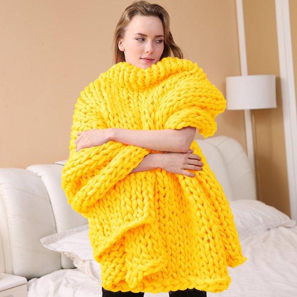 Coperta a nastro a maglia - giallo