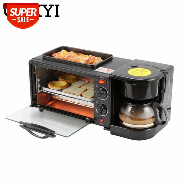 top popular CUKYI Multifunction Breakfast Making Machine 3 in 1 Electric Coffee maker omelette frying pan bread pizza baking oven household #Ot9S 2021