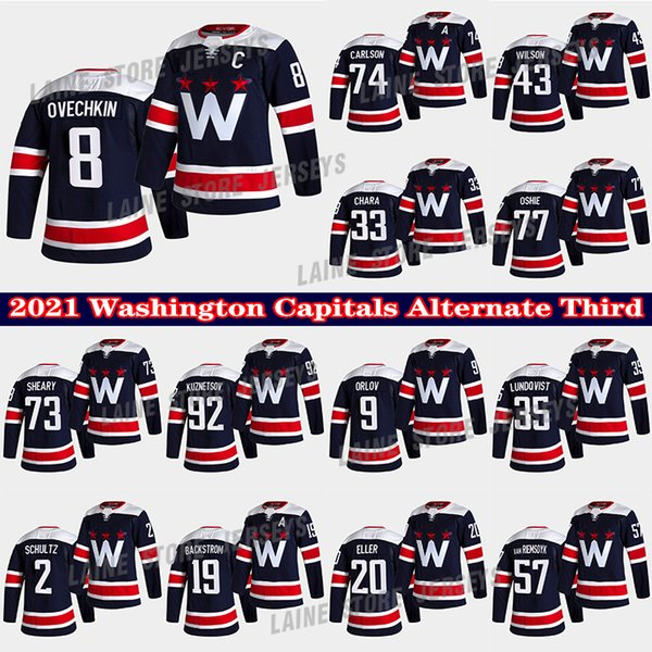 top popular Washington Capitals Jersey Alternate Third 8 Alex Ovechkin 19 Backstrom 77 TJ Oshie 43 Tom Wilson 74 JOHN CARLSON 33 CHARA Hockey Jerseys 2021