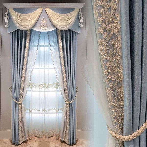 best selling European Style Solid Color Luxury Atmosphere Blue Shade Curtains for Living Room Bedroom