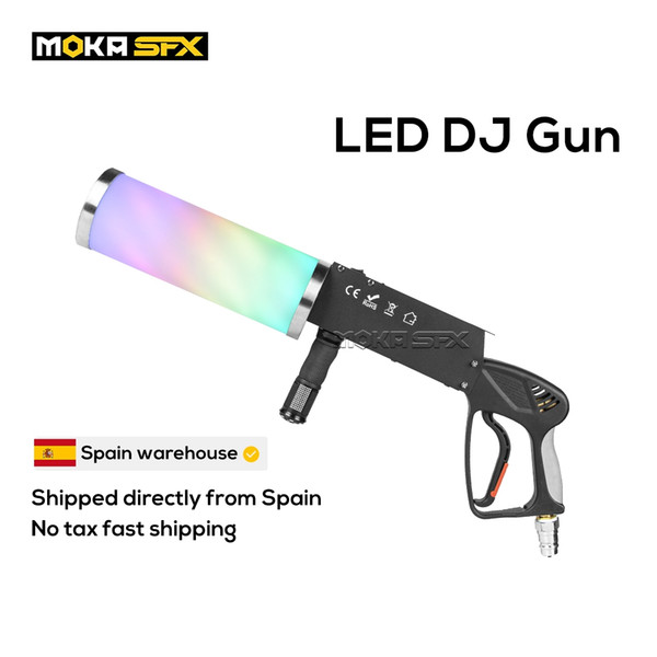 top popular Spain Stock Portable LED CO2 Jet Machine DJ Gun Special Effects Club Cannon RGB 3 Color Fogger for Disco Stage Light 2021