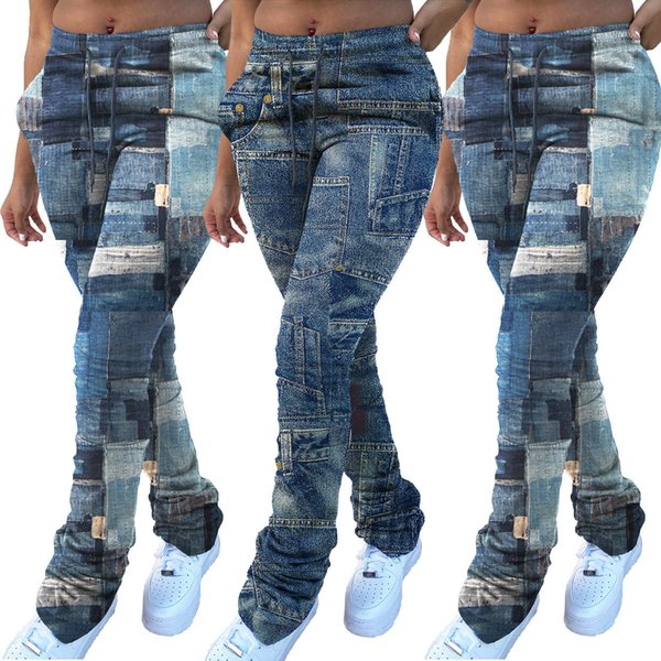 best selling Autumn And Winter 2020 women's fashion denim printed drawstring pile up pants Casual Jeans Fashion Trend Pile of Pants Slim Jeans