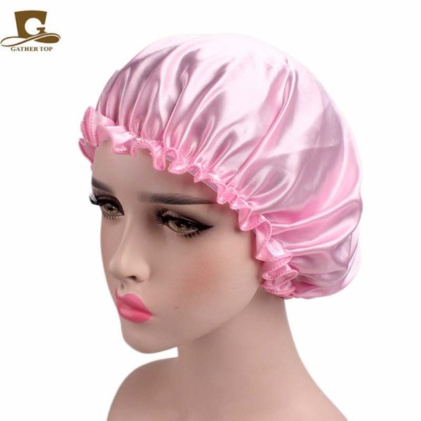 top popular Popular European and American style ladies satin lace night caps Chemo caps Hair care caps Smooth and bright satin fabrics 2021