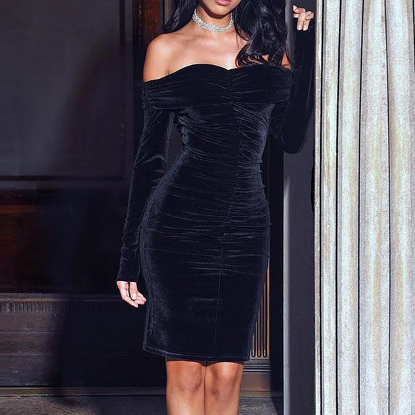 best selling One shoulder Plush long sleeve mid length dress for women's slim and sexy autumn and winter dress s-2xl
