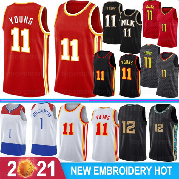 2021 new ja 12 morant men jerseys zion trae 1 williamson 11 young 23 basketball jerseys s-xxl basketball wear, Black;red