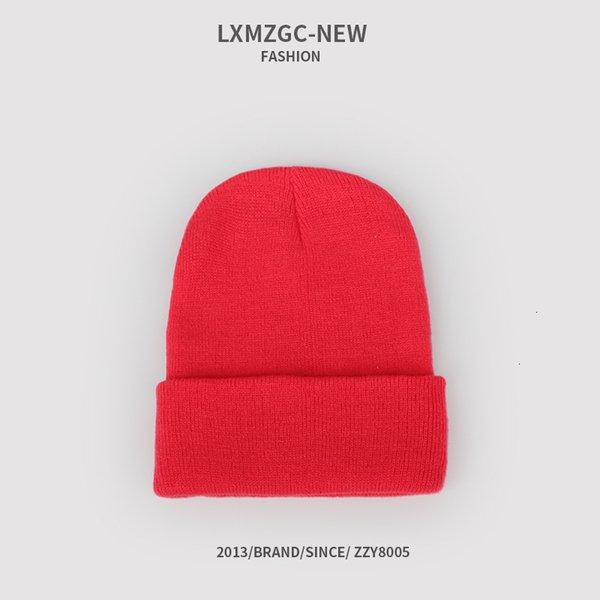 Sombrero de punto fluorescente de la sandía roja