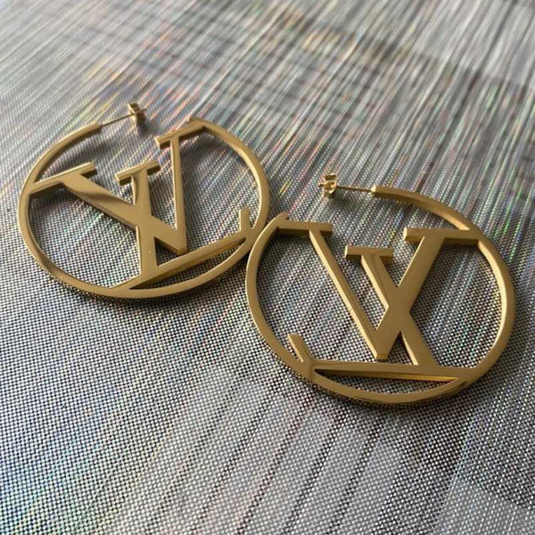 top popular Top Quality Big Size Fashion Design Ear Studs Hip Hop Earrings Titanium Steel Earrings 3 Colors Gold Plated Hoop For Women Jewelry Wholesale 2021