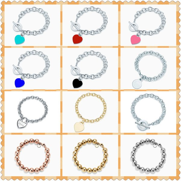 top popular S925 Sterling Silver Bracelet Heart-Shaped Lock Beaded(10mm) HighQuality 1:1 With ,Women Birthday Gift Fine Jewelry 1028 2021