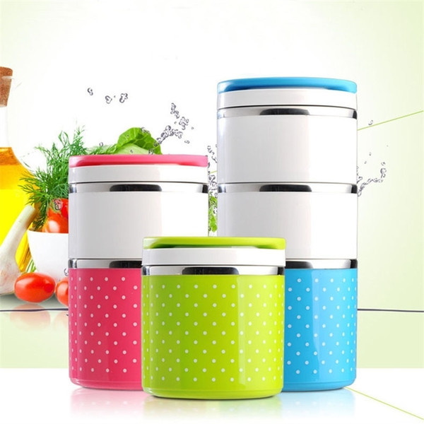 best selling Cute Thermal Lunch Box Bento Box Cartoon Leakproof Food Storage Container Stainless Steel for Kids Students Women Gift 201210