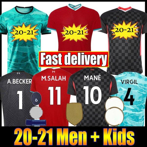 top popular New 2020 2021 Mohamed M. Salah FIRMINO Soccer Jersey Football Shirts 20 21 VIRGIL MANE KEITA Men + Kids Kits set uniforms 2020