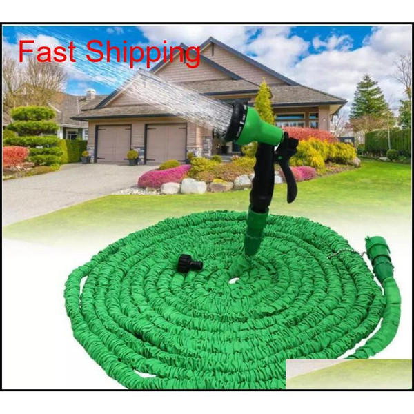 top popular 100ft Expandable Flexible Garden Magic Water Hose With Spray Nozzle Head Blue Green With Retail Box jllfbd xmhyard 2021
