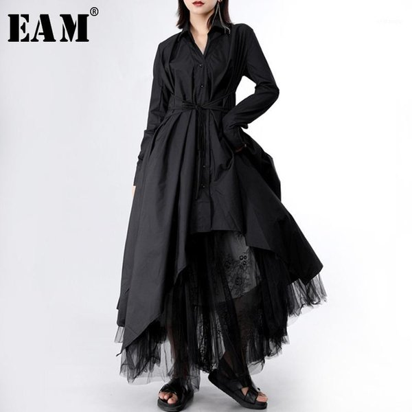 eam] 2020 new spring autumn lapel long sleeve button bandage stitch pleated irregular shirt dress women fashion tide jy7781, Black;gray