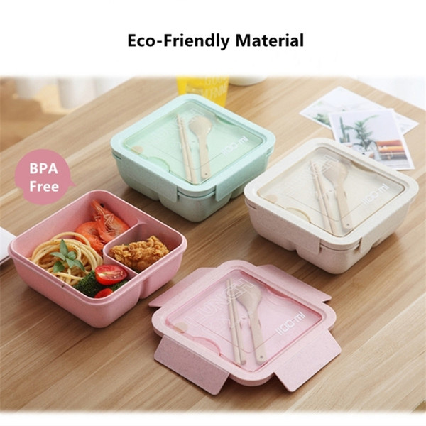 best selling 1100ml Wheat Straw Lunch Box Large Capacity Healthy Material Bento Boxes Microwave Dinnerware Food Storage Container Lunchbox 201210