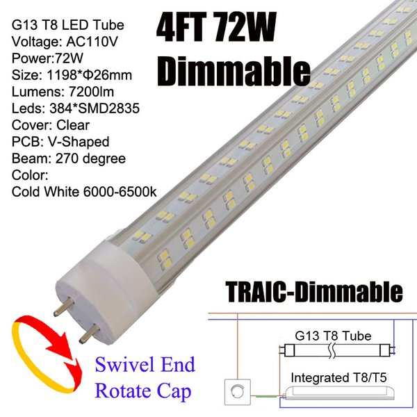 Dimmable 72W G13 4Ft LED Tube