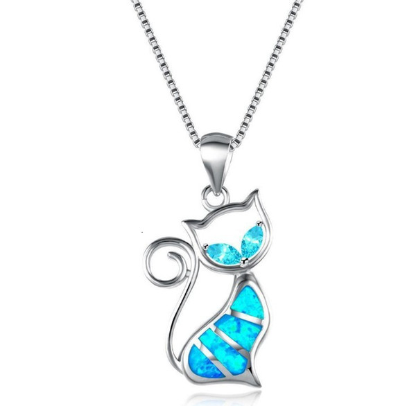 accessory Fashion accessories two water diamonds + blue Aobao Cat Pendant Necklace all about making you beautiful