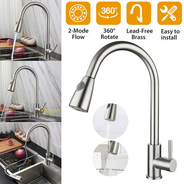 top popular Stainless Steel Kitchen Sink Faucet Pull Out Sprayer Single Handle Mixer Tap 2021