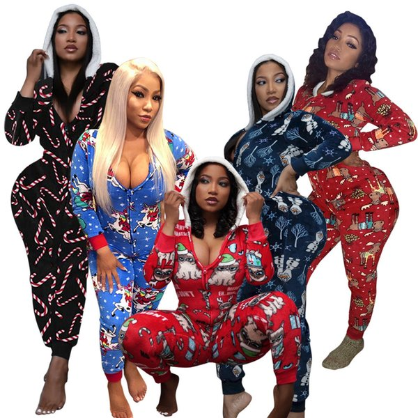 best selling Women Onesies Casual V-neck Hooded Christmas Printed Jumpsuit Long Sleeve Home Wear Slim Rompers Ladies New Fashion Clothing