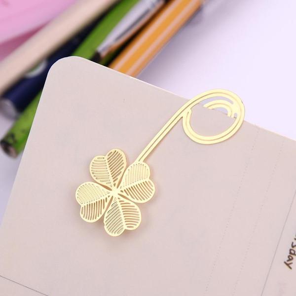 top popular 1pc New Four-leaf Clover Reading Metal Clip Bookmark Gift Book Mark For Kids jllTJp 2021