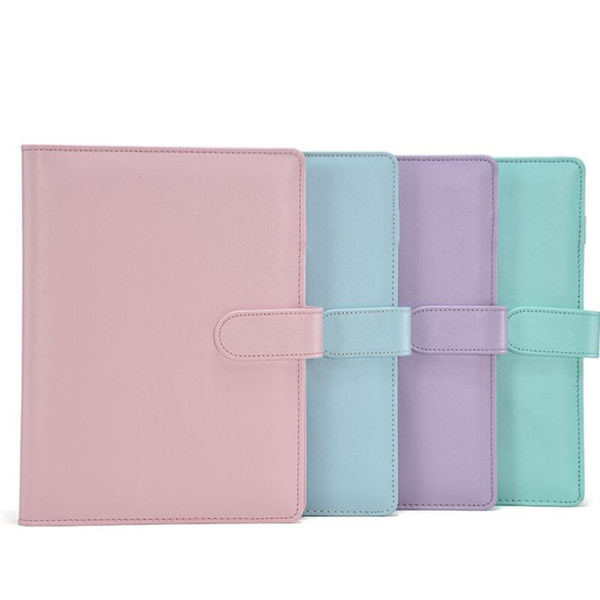 top popular A6 Empty Notebook Binder Loose Leaf Notebooks Without Paper PU Faux Leather Cover File Folder Spiral Planners Scrapbook 5 Colors DHL Free 2021