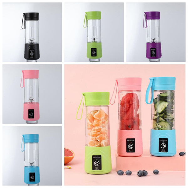 best selling Portable 6 Blades USB Juicer Cup 5 Colors Electric Juicer Cup Smoothie Blenders Mini Food Blender Cup SEA SHIPPING CCA12618 60pcs