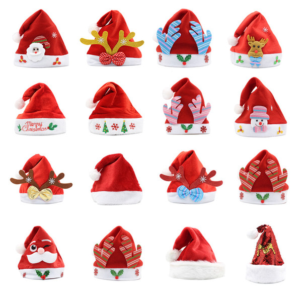best selling 2020 Christmas Hat Soft Plush Santa Red Accessories Decorations Holiday Party Gift New Year Cartoons Non-woven Fabric Adult Kid Child LED