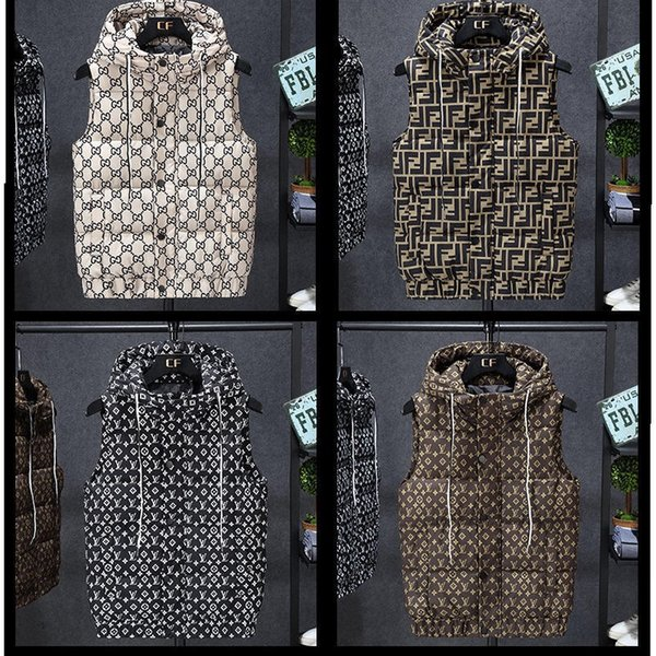 top popular Mens vest And Womens Clothing Design bodywarmer Covered With Printed Cotton Vest Fashion Trend Outdoor Casual Hooded Warm mens down vest 2020