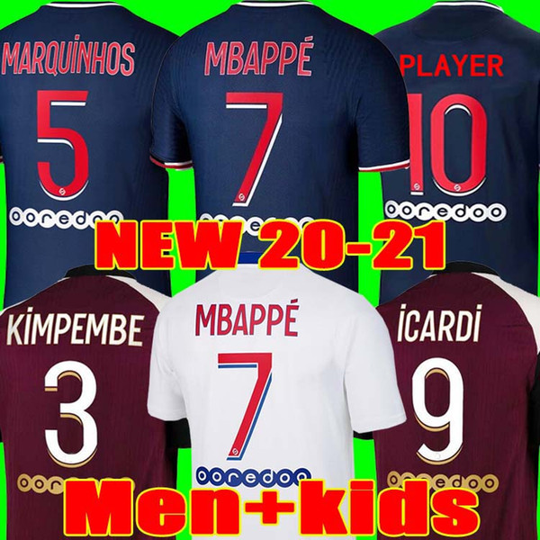 top popular 20 21 Thai soccer jersey MBAPPE VERRATTI 2020 2021 MARQUINHOS KIMPEMBE DI MARIA KEAN football Jersey soccer tops men shirt and kids sets 2021