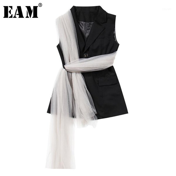 eam] women loose fit black mesh bandage split joint irregular vest new lapel sleeveless fashion tide spring autumn 2020 1x3411, Black;white