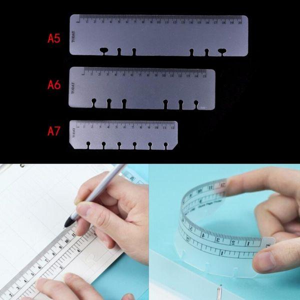 top popular Practical Loose Leaf Bookmark Book Mark A5 A6 A7 PVC Planner Agenda For 6 Holes Loose Leaf Spiral Notebook Ruler Office Supply 2021