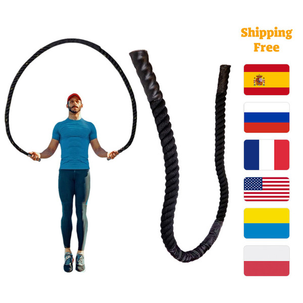 Wholesale battle rope resale online - ports Entertainment mm Fitness Heavy Jump Rope Crossfit Weighted Battle Skipping Ropes Power Training Improve Strength Building Muscl